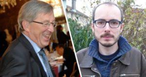 EU-kommissionens formand Jean-Claude Juncker og Antoine Deltour, der afslørede Junckers ulovligheder - og som tak mistede sit job og fik et års betinget fængsel. Foto: Wikimedia Commons I Collage: Folkebevægelsen mod EU