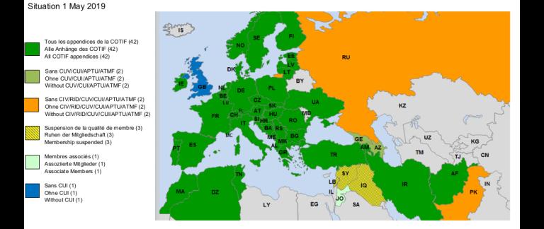 Konventionen om international jernbanetransport dækker langt flere lande end EU. Illustration fra COTIF og Den Internationale Komité for Jernbanetransport (CIT).